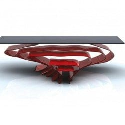 Flow: A Coffee Table with Nesting Stools