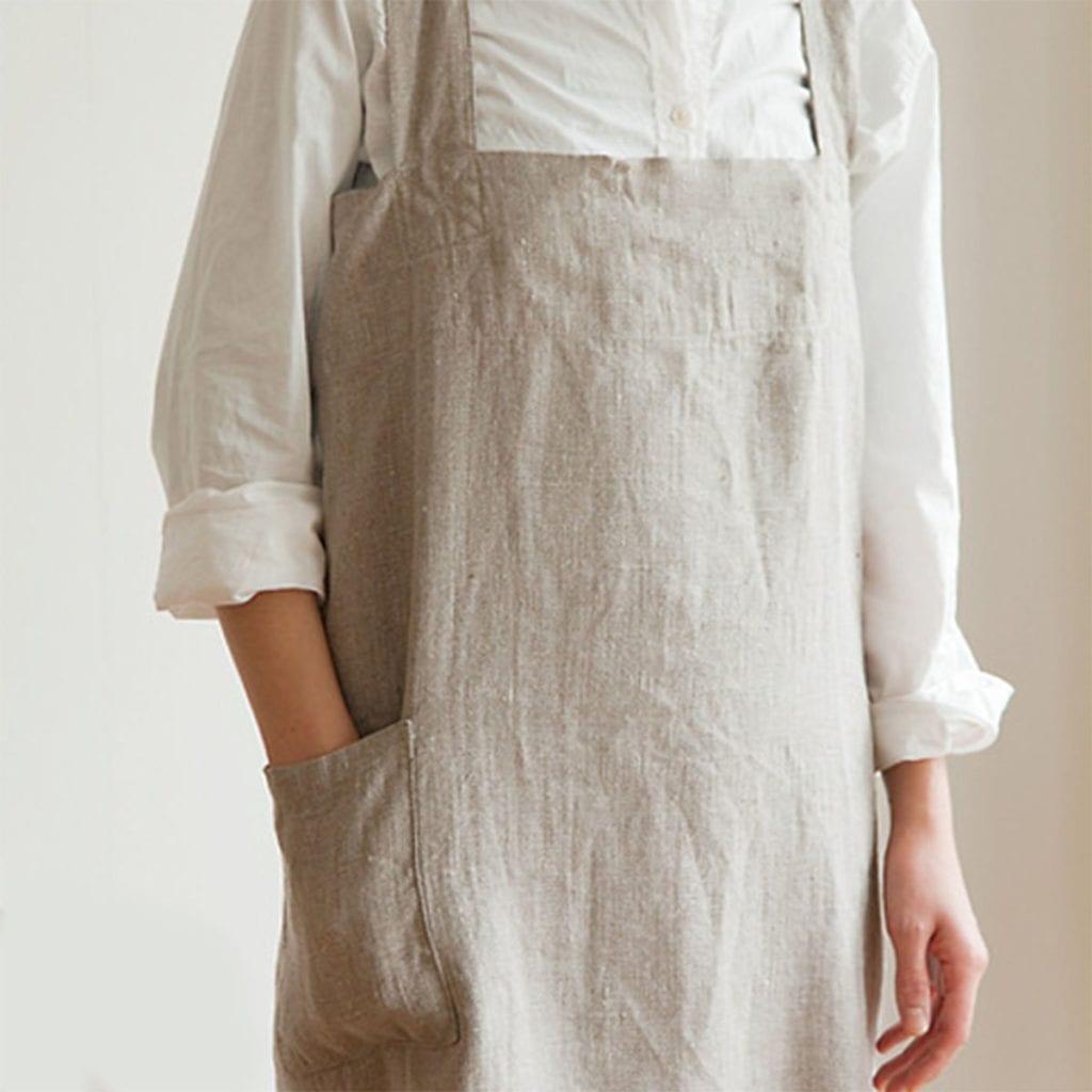 White linen apron - Traditional Linen Aprons