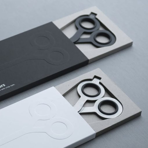 Box Cutter Scissors in Black (L) and Silver (R)