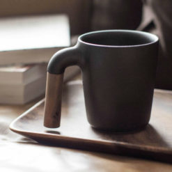 Ceramic & Wood Coffee Cup, Charcoal