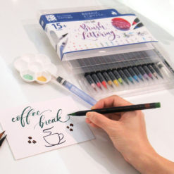 15-Set Watercolor Fude Brush Pens, Calligraphy