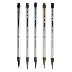 5-Set Thin Fude Pens, Deep Tones